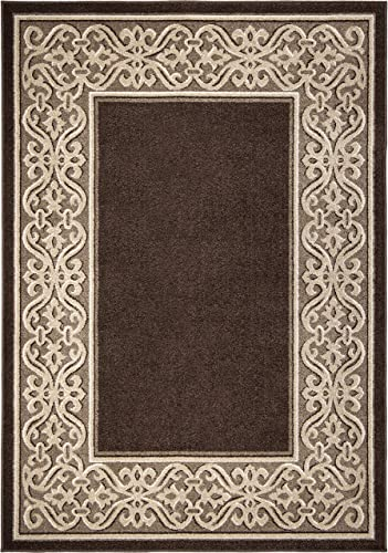 Orian Rugs Farmhouse Indoor Outdoor Iron Works Field Area Rug, 5 2 x 7 6 , Nutty