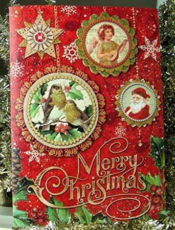Punch Studio 64422 Merry Christmas Greeting Cards Holiday Glitter Victorian Die Cut