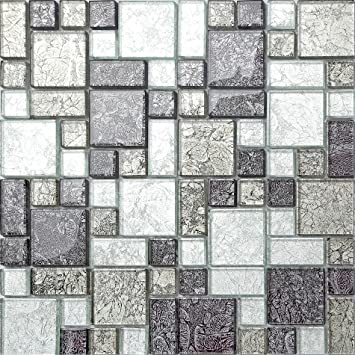 black silver hong kong foil glass mosaic tiles modular mix sheet