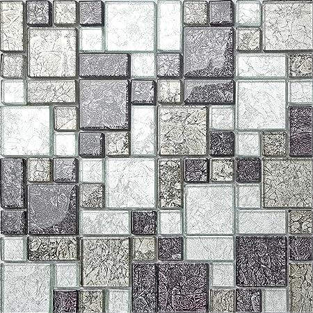 black silver hong kong foil glass mosaic tiles modular mix sheet