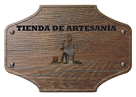 Placa Conmemorativa de aluminio personalizada Tienda artesania 15,00 cm x 11,00 cm