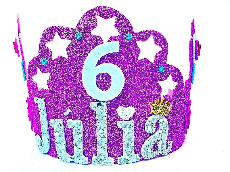 HANDYLANDIA Corona CUMPLEAÑOS con Nombre Goma EVA Modelo Estrella