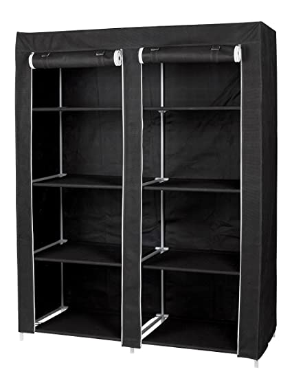 Attirant Large Portable Wardrobe Closet Organizer By Florida Brands   8 Shelf  Storage   Black Vinyl Fabric