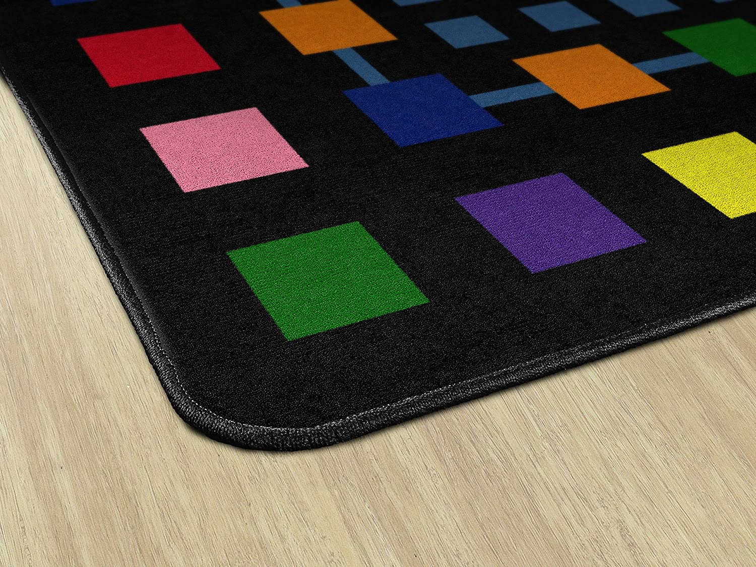 510x84 Rectangle Childrens Classroom Educational Rug Flagship Carpets FE157-32A Rebordered Squares Black