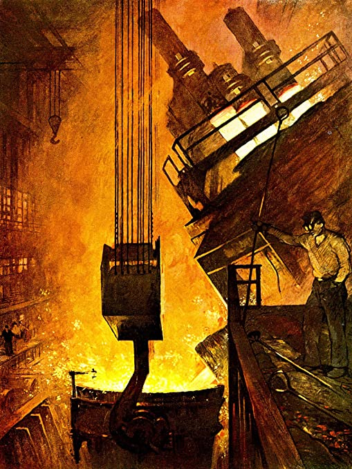 INDUSTRIAL SCENE FOUNDRY IRON WORK Painting Canvas art Prints