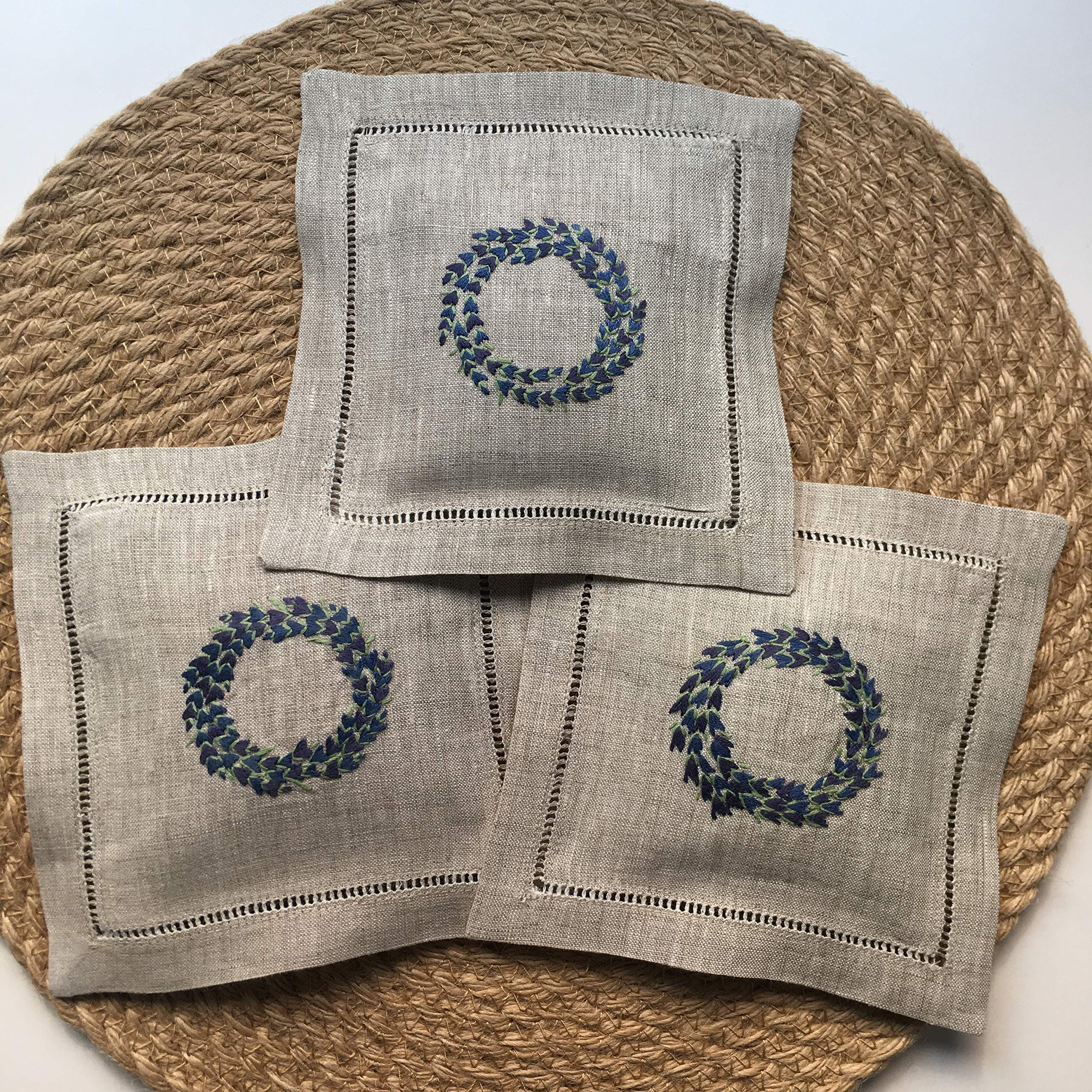 Hand Embroidered Lavender Pillow Sachet Bag ''Lavender Crown'' Natural Linen Cushion 6''x6'', Set of 3 by Minhcraft (Image #3)