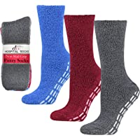 Debra Weitzner Non-slip Hospital Socks Fuzzy Slipper Grip Socks For Women Men 3 Pairs