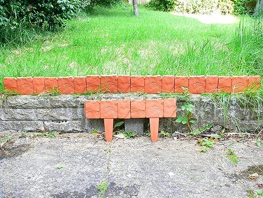 2, 4 m/cm efecto piedra adoquinadas bordes jardín terracota: Amazon.es: Jardín
