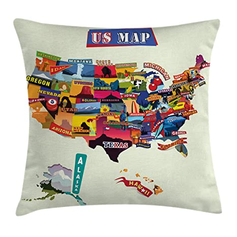 Amazon.com: Ambesonne Wanderlust Throw Pillow Cushion Cover, US Map ...