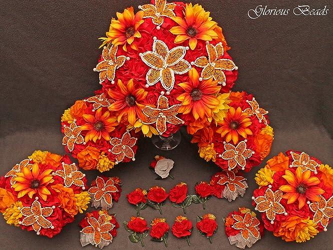 Amazon Orange Red And Yellow Beaded Lily Bridal Wedding Flower