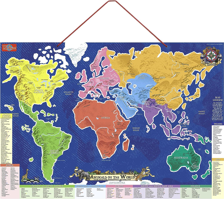 T.S. Shure magnético Animales del Mundo Mapa y Puzzle: Amazon.es ...