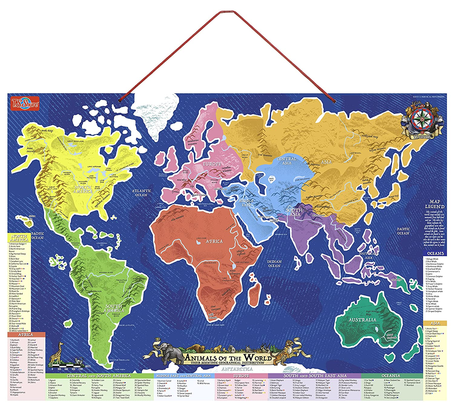 Amazoncom TS Shure Animals of the World Wooden Magnetic Map