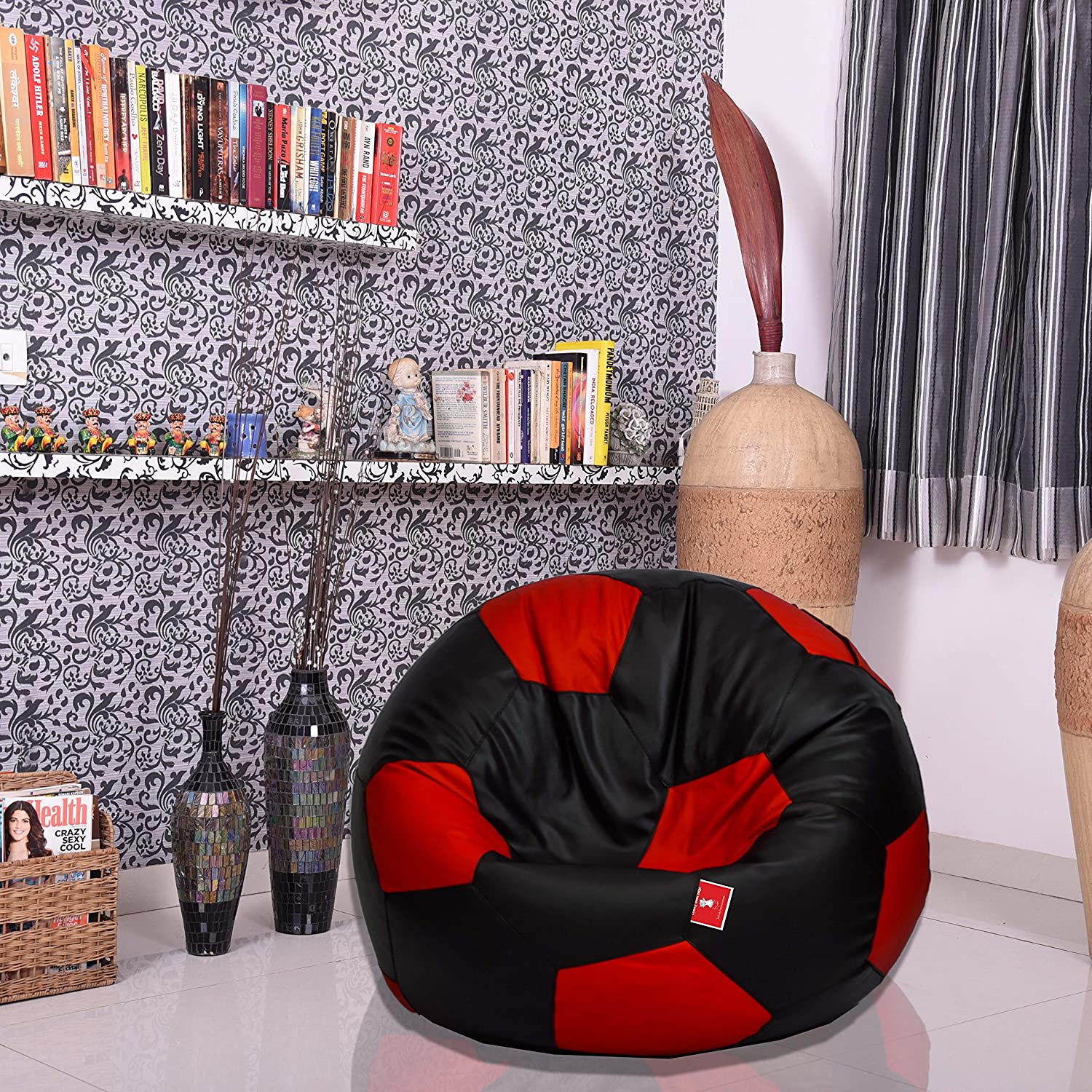 Comfy Bean Bags Football XL Bag Filled With Beans Filler Black And Red Amazonin Home Kitchen