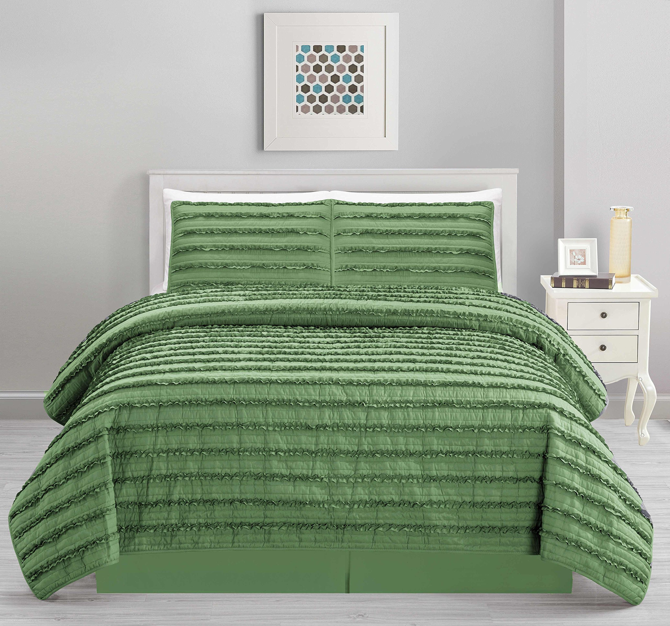 All American Collection New 4pc Pleated Ruffle Bedspread/Quilt Set with Bedskirt (Queen Size, Sage Green)
