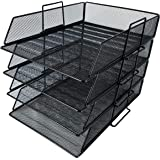 4 Tier Pack Stackable Tray Office Desk Organizer File and Desktop Holder for Paper Letter Accessories Black Discount…