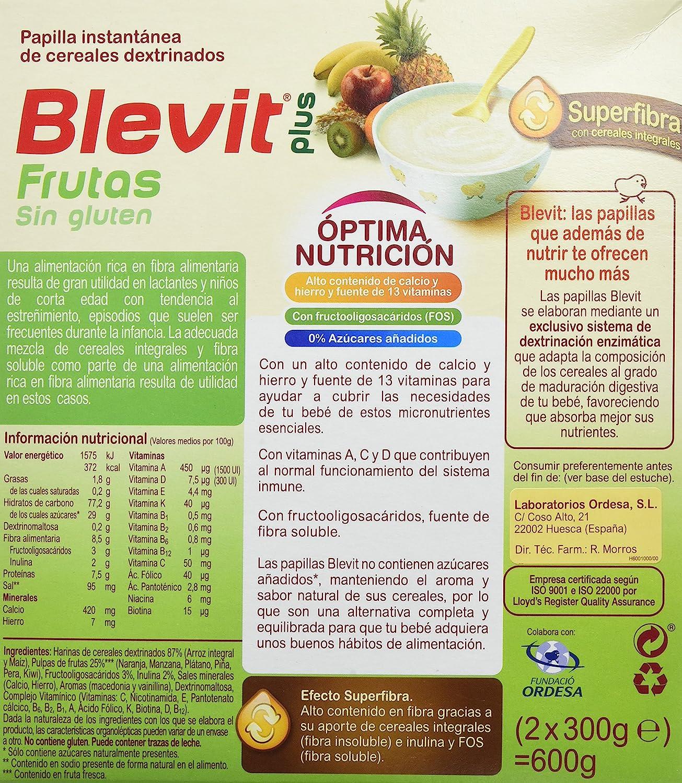 Blevit Plus Superfibra Frutas Cereales - Paquete de 2 x 300 gr - Total: 600 gr: Amazon.es: Alimentación y bebidas