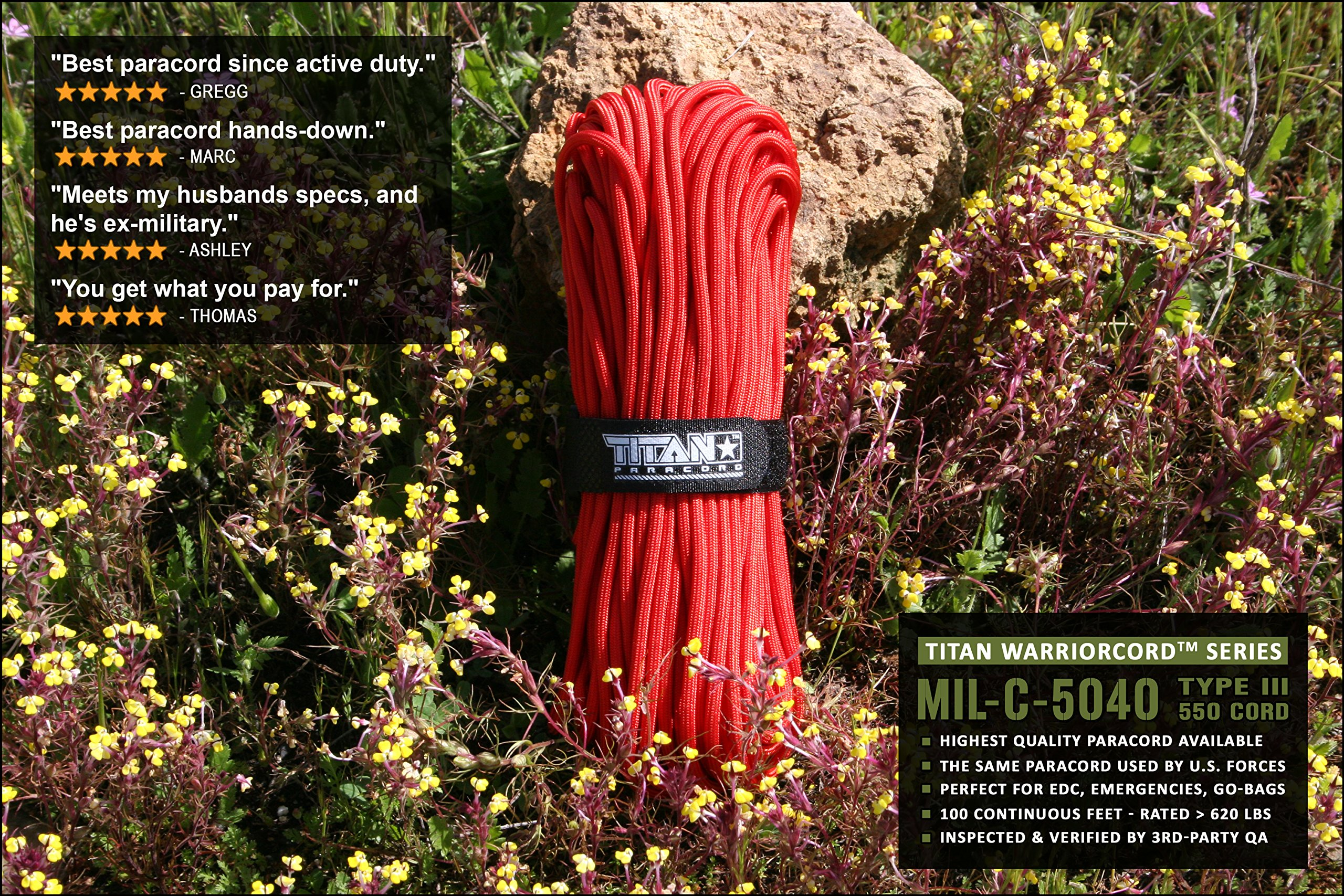 TITAN WarriorCord | RED | 103 CONTINUOUS FEET | Exceeds Authentic MIL-C-5040, Type III 550 Paracord Standards. 7 Strand, 5/32'' (4mm) Diameter, Military Parachute Cord. by Titan Paracord (Image #3)