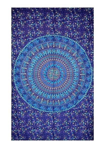 dbcad3674a29d UrbanDreamz-Blue Mandala Indian Twin Wall Hanging Tapestry, Wall Decorator,  Indian Mandala Beach