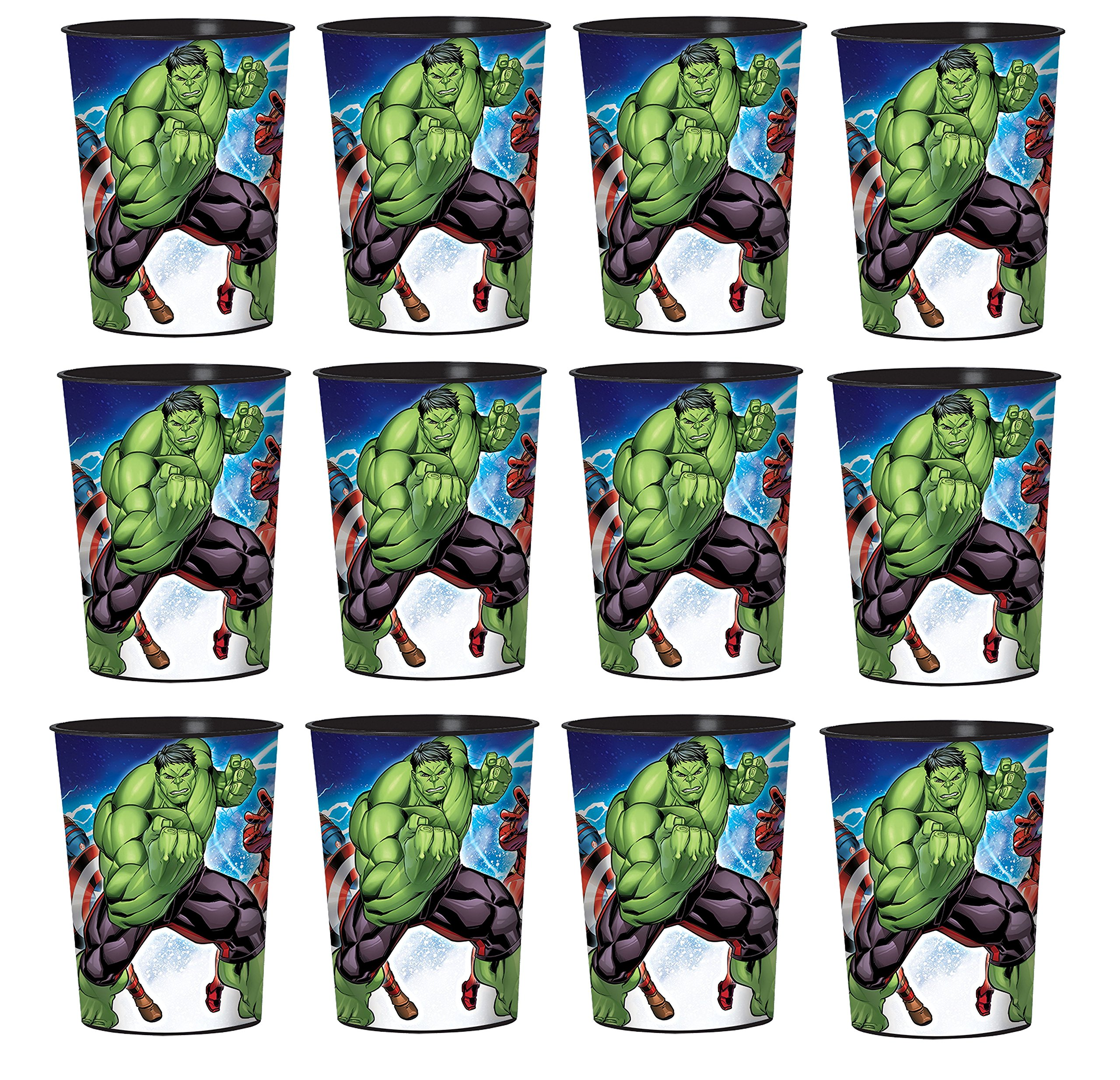 BirthdayExpress New Movie Lot of 12 Avengers 16oz Party Plastic Cup ~Party Favor Supplies~