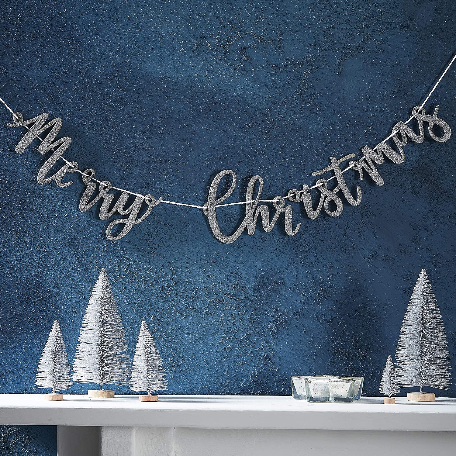 Ginger Ray Merry Christmas Wooden Silver Glitter Garland Buniting Decoration - 1 Metre - Silver Christmas