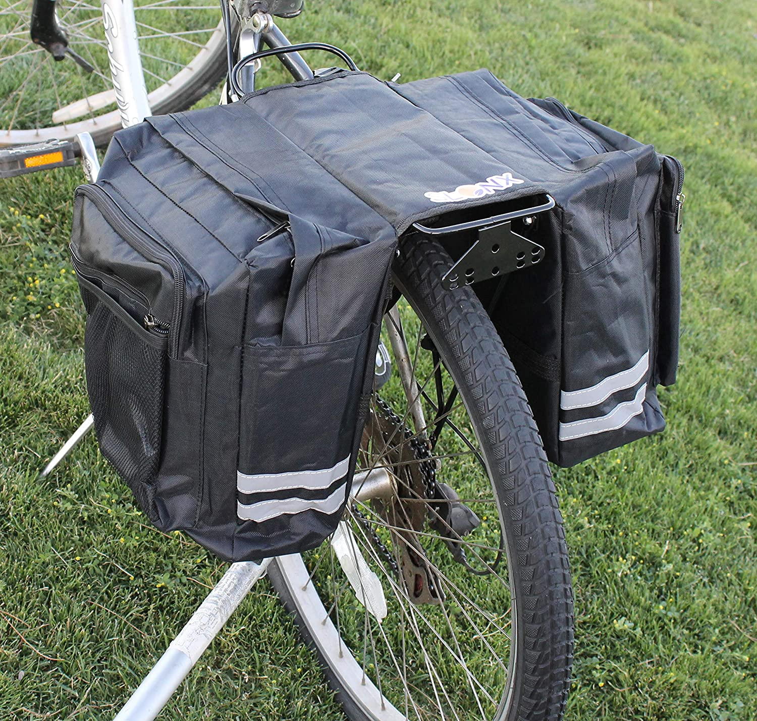 2 Reflective Lights Included for Road Safety Double Sided Panniers for Bicycles Rear Rack Water and Tear Resistant Saddle Bag with Multiple Pockets and Adjustable Straps SlonX Bike Bags
