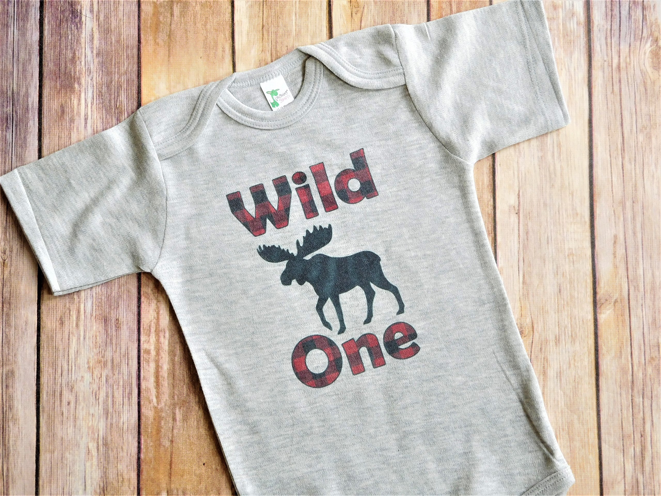 Wild One 1st Birthday Party Bodysuit - Lumberjack Theme Party Outfit - Red and Black Plaid Moose on Gray Bodysuit