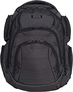 "Kenneth Cole Reaction Pack-of-All-Trades' Multi-Pocket 17.0"" Laptop & Tablet Business Travel Backpack, Pindot Charcoal, One Size"