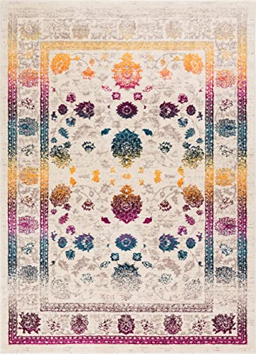 Well Woven Hebe Vintage Distressed Floral Color Wave Bright Mult Striation Color Oriental 8×10 7'10″ x 9'10″ Area Rug