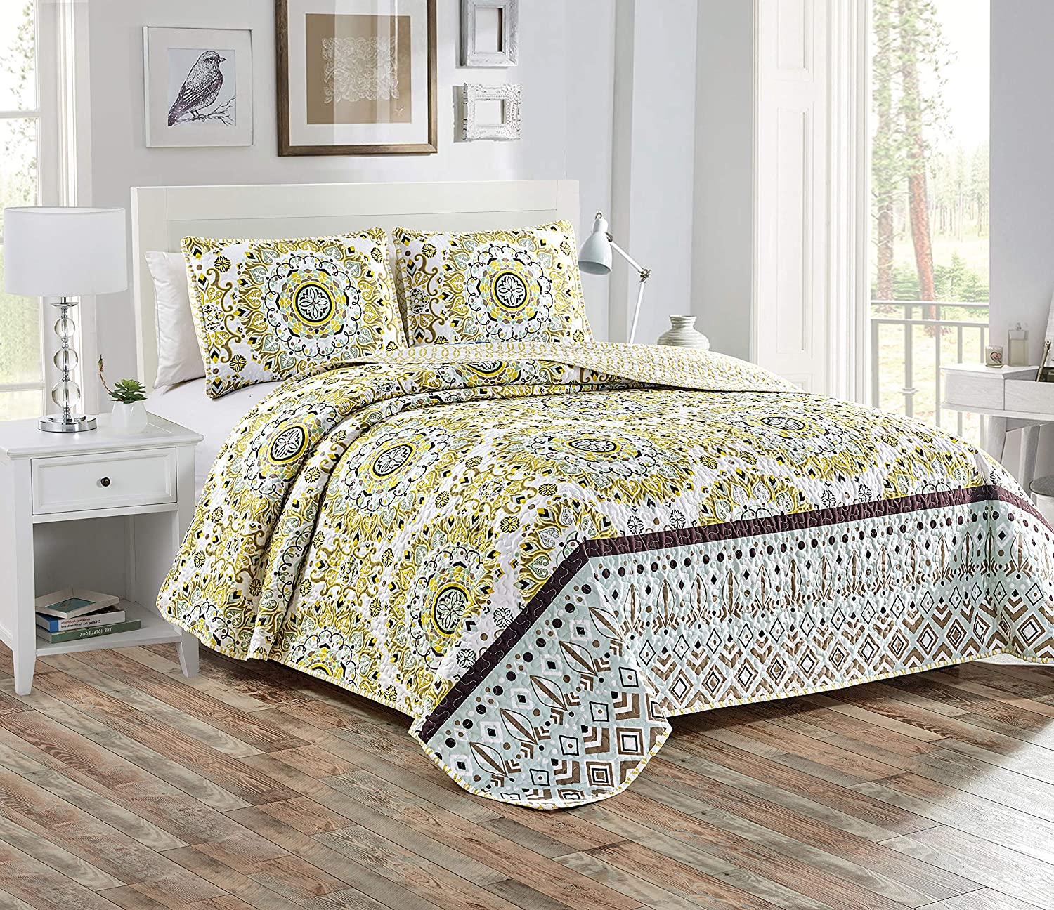 Home Collection 3pc King/Cal King Quilted Bedspread Set Floral Bedding Yellow White Dark Brown Cool Mint Green New # Sara