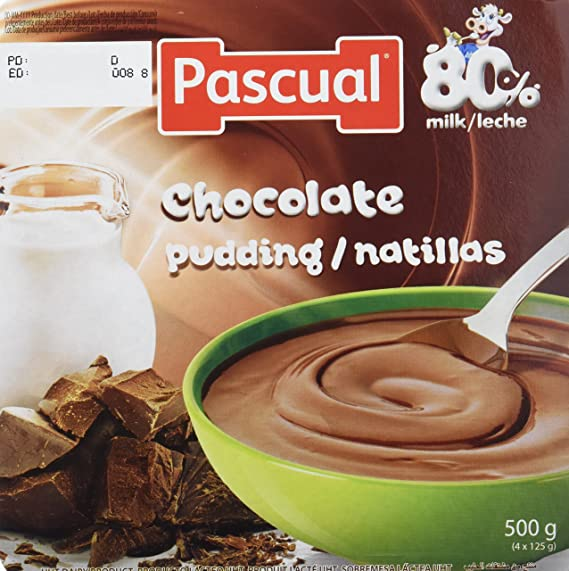 Pascual Natillas Chocolate - Paquete de 4 x 125 gr - Total: 500 gr -