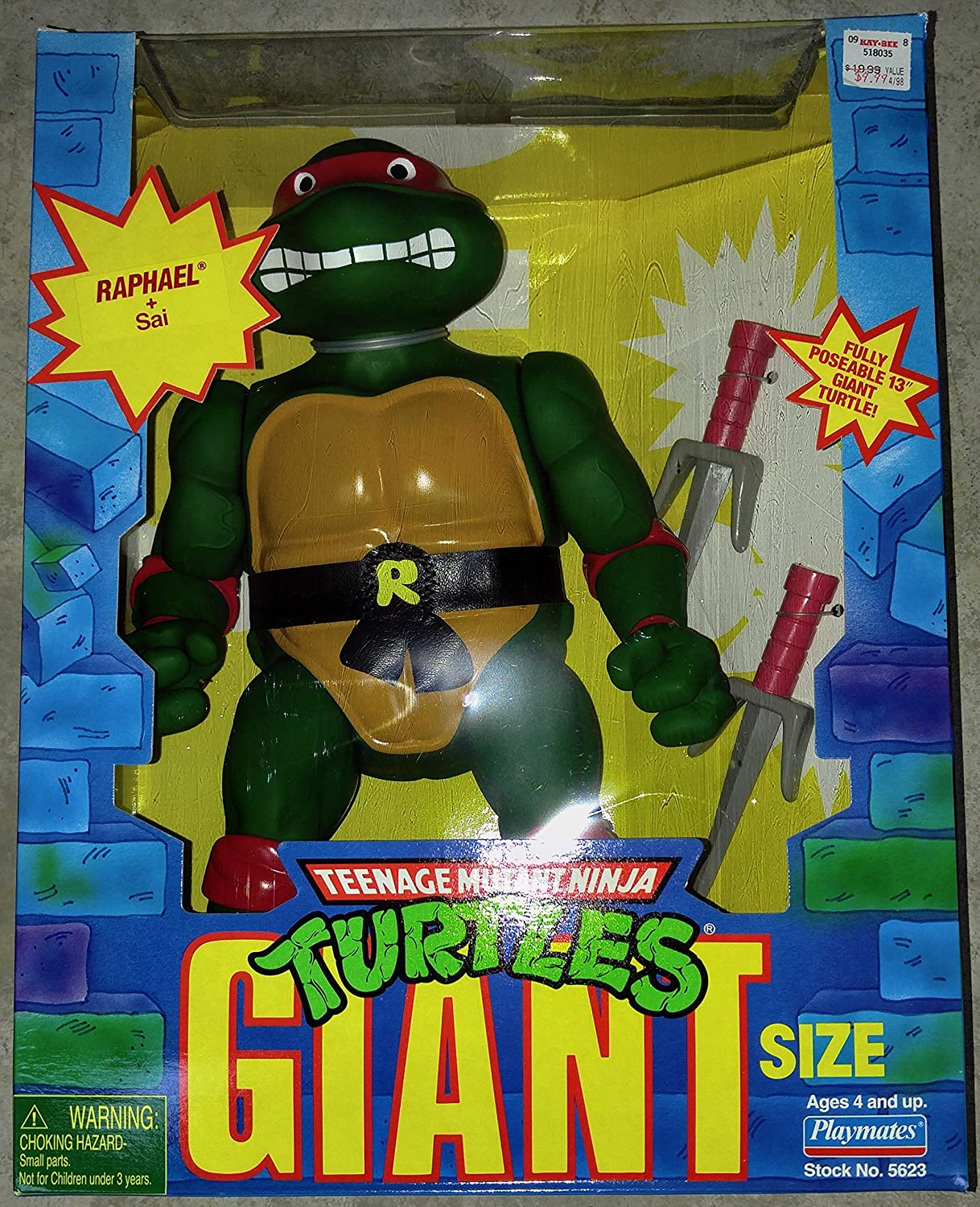 Sai 13 Inch Posable by Playmates Teenage Mutant Ninja Turtles Giant Size Raphael
