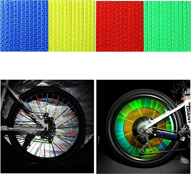 Paquet de 4//48 pi/èces 12 x Bleu + 12 x Vert + 12 x Rouge + 12 x Jaune TAGVO R/éflecteur de Rayon de v/élo Clips r/éfl/échissants de Bicyclette de v/élo pour Le b/âti Facile de v/élo Adulte denfants