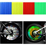 Tagvo Bike Spoke Reflector 4 Pack / 48 Pieces (12 x Blue + 12 x Green + 12 x Red + 12 x Yellow) Bicycle Cycling Reflective Clips for Kids Adult Bike Easy Mount