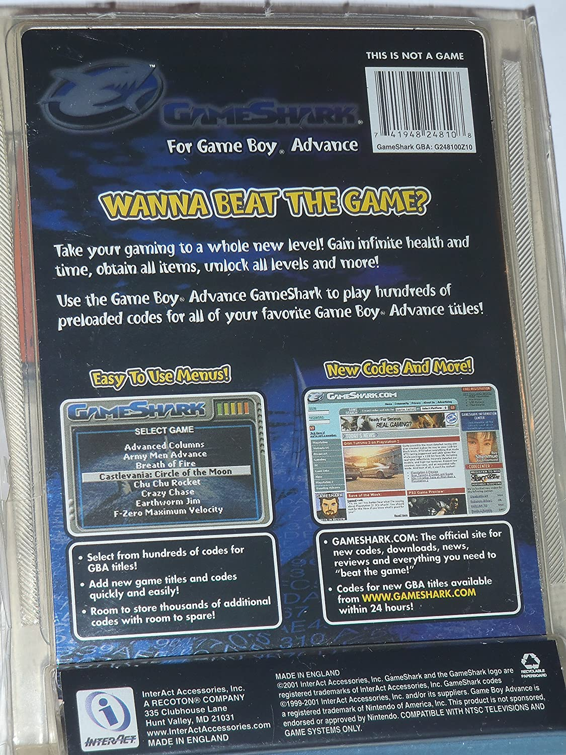 Game boy color game genie codes - Amazon Com Nintendo Gbashark Gameshark For Gameboy Advance Video Games