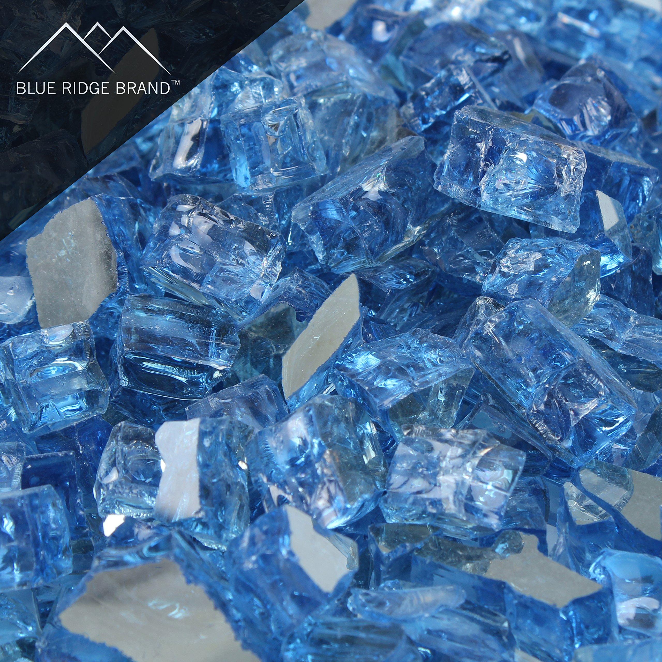 Blue Ridge Brand™ Blue Reflective Fire Glass - 50-Pound Professional Grade Fire Pit Glass - 1/2'' Reflective Fire Pit Glass Bulk Contractor Pack