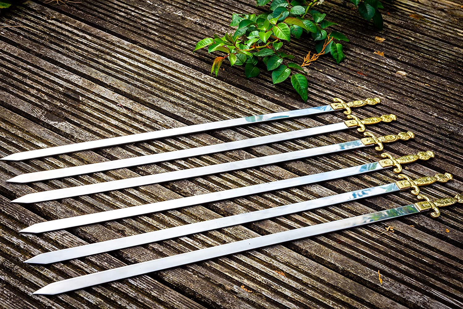 JD Europe Turkish Stainless Steel Flat Kebab Skewers with Brass Handles. Set of 6. Length 22.5'' Width 0.6'' Thickness 0.08''