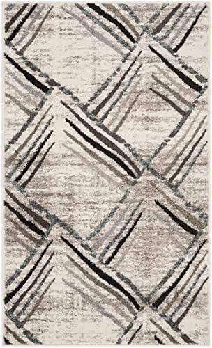 Safavieh Amsterdam Collection Cream and Charcoal Area Rug, 4 x 6