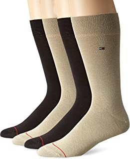 Tommy Hilfiger mens 4 Pack Flat Knit Logo Crew Sock Khaki/Brown 10-13/6-12 ATP185
