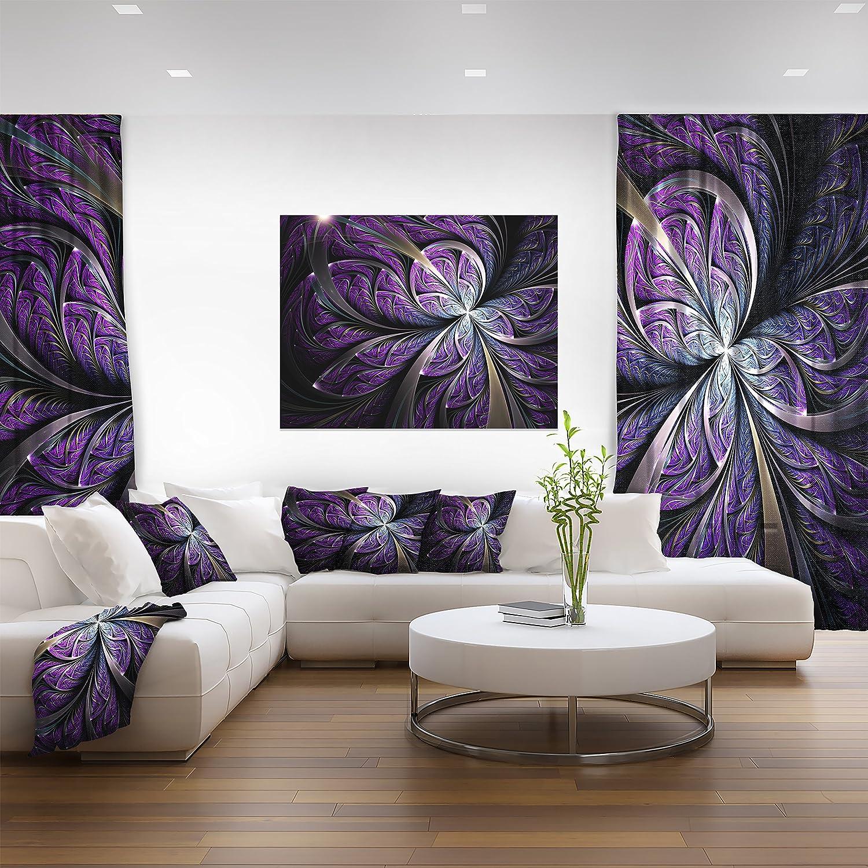 36x28-3 Panels Purple Designart Fractal Flower Floral Canvas Art Print-36x28in-Multipanel 3 Piece