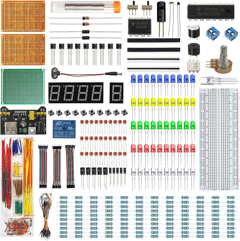 IZOKEE Kit Mejorado de Componentes Electrónicos con tutoriales - Módulo de Alimentación + Kit de Soldadura de PCB Prototipo + Pantalla LED Tubo Digital + Cables Puente + Breadboard