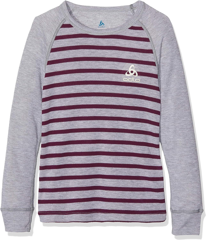 ODLO Kids SUW TOP Crew Neck L//S ACTIVE Originals K Undershirt Grey Melange//Pickled Beet//Stripes Size 116