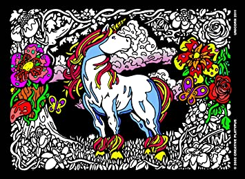 Amazon.com: Imagination Unicorn - 11x15 Fuzzy Velvet Coloring Poster ...