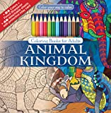 Animal Kingdom Adult Coloring Book Set With 24 Colored Pencils And Pencil Sharpener Included: Color Your Way To Calm