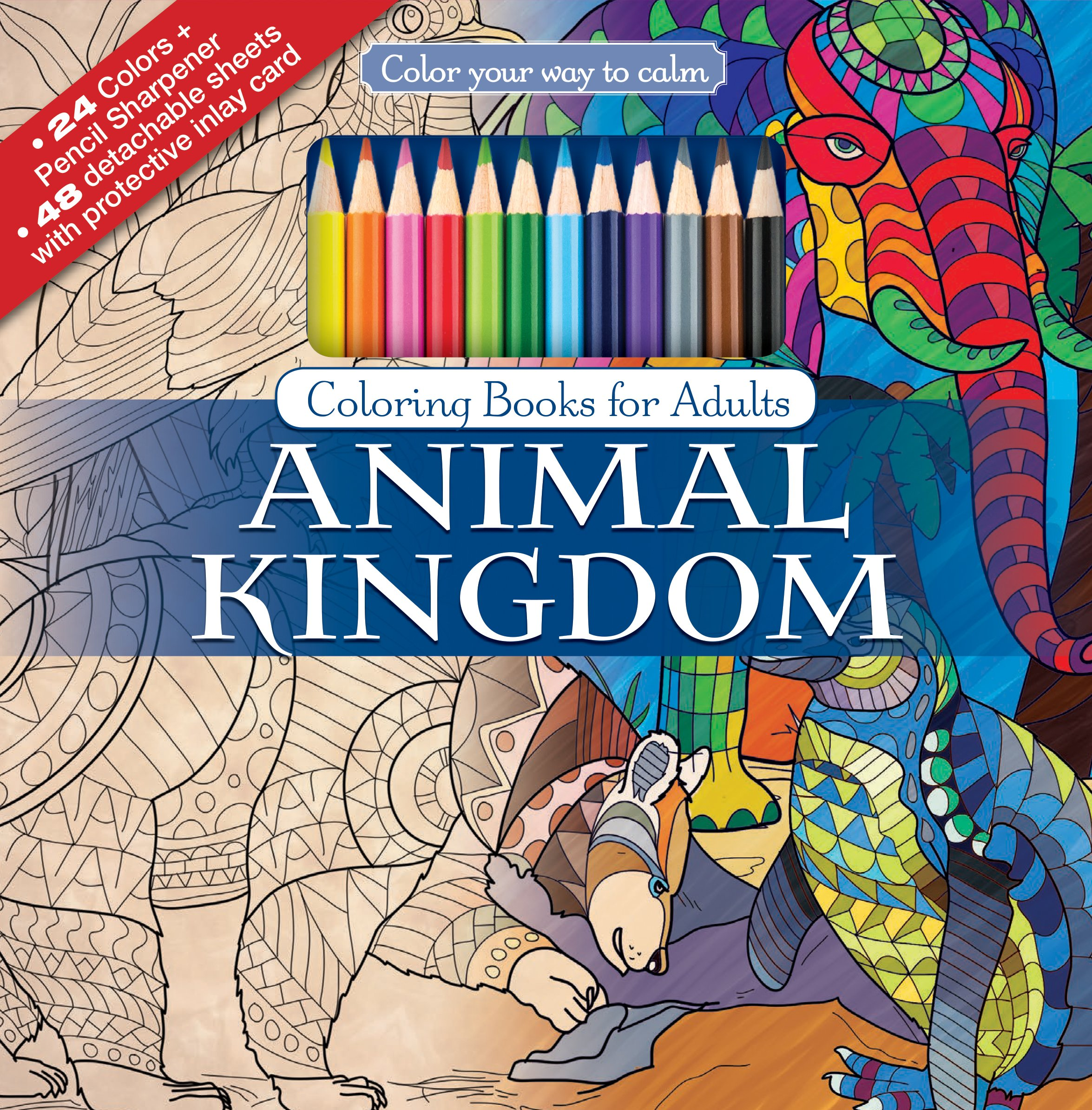 Amazon Animal Kingdom Adult Coloring Book Set With 24 Colored Pencils And Pencil Sharpener Included Color Your Way To Calm 9781988137209 Newbourne
