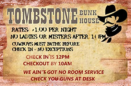 Amazon.com: A 12 x 18 Wood Sign Tombstone Bunk House old west ... on