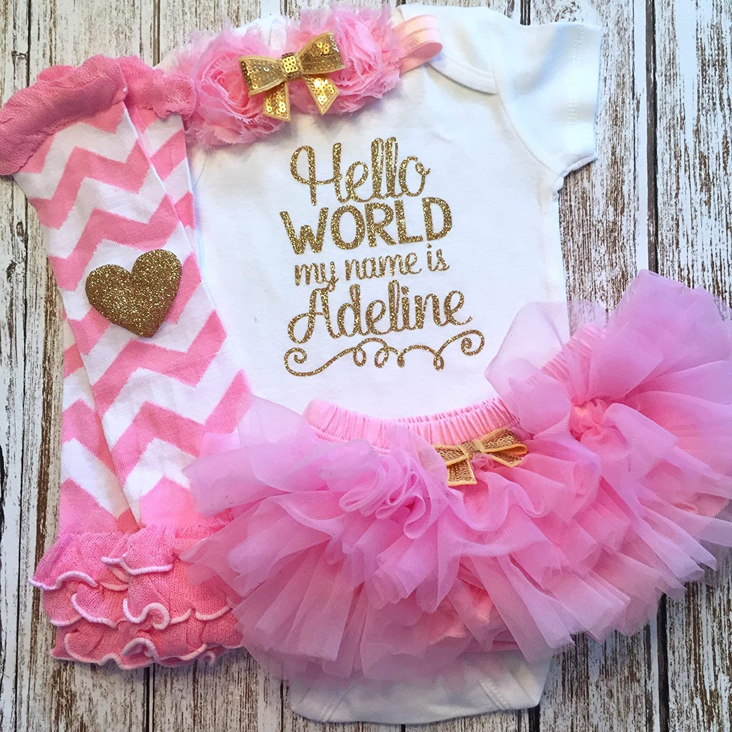 19f5b4e96ae Take Home Outfit Baby Girl Outfit Personalized Name Pink and Gold Optional  Tutu Bloomers Headband and