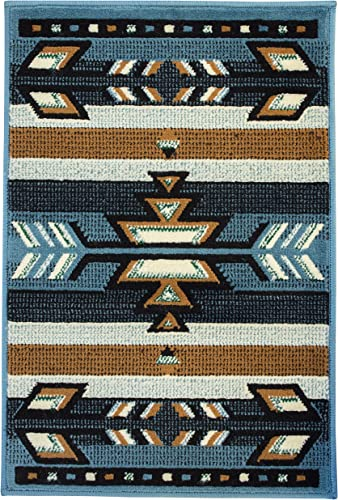 Rugs 4 Less Collection Southwest Native American Indian Area Rug Design SW1 Light Blue, 2ft x 3ft