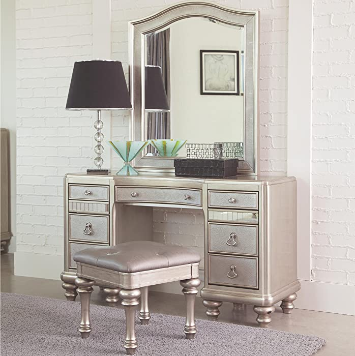 Coaster Home Furnishings Bling Game 3 Piece Vanity Set with Desk , Mirror , and Stool , in Platinum and Silver