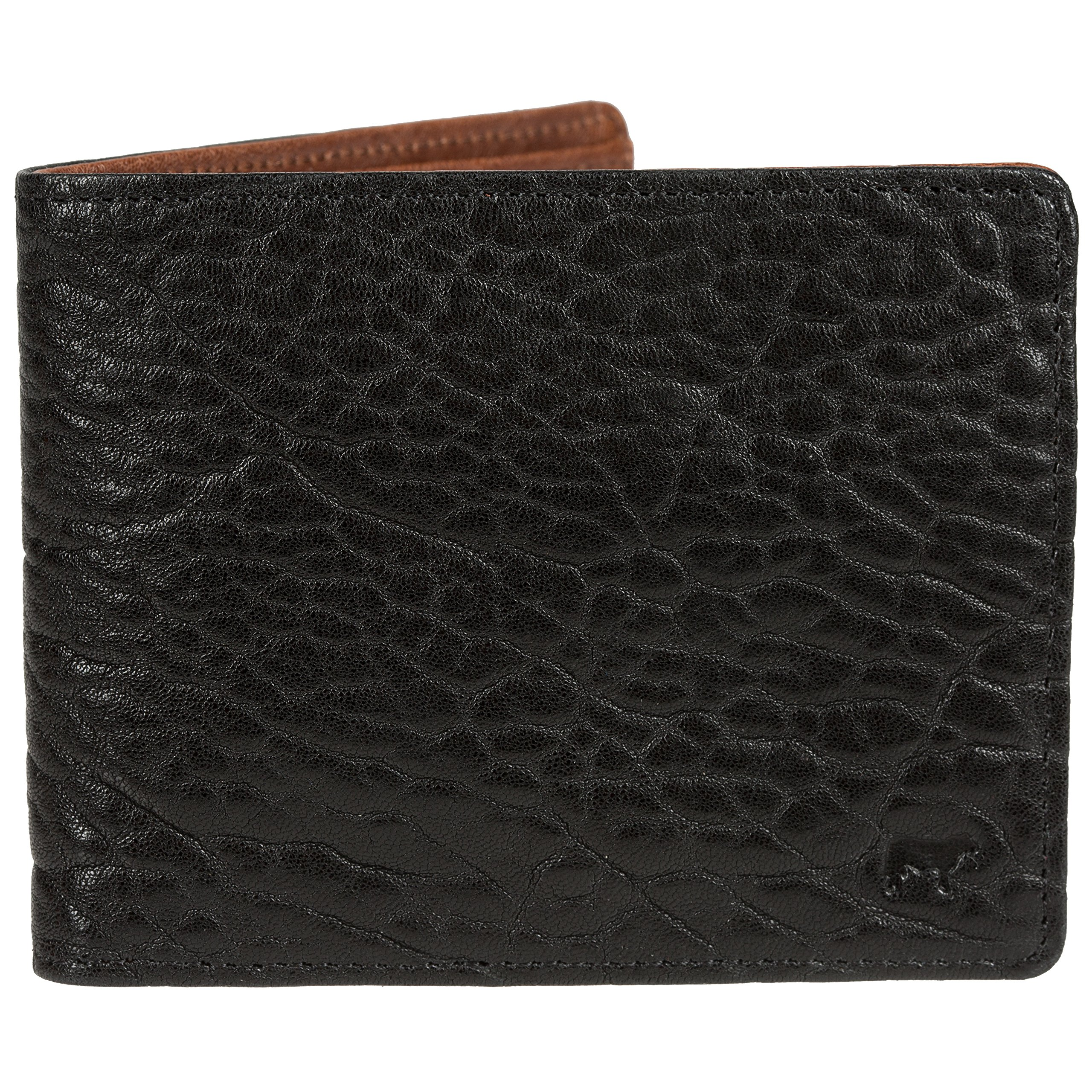 Will Leather Goods Marvel Italian Lambskin Billfold, 4.5'' x 3.5'' - Black/Cognac