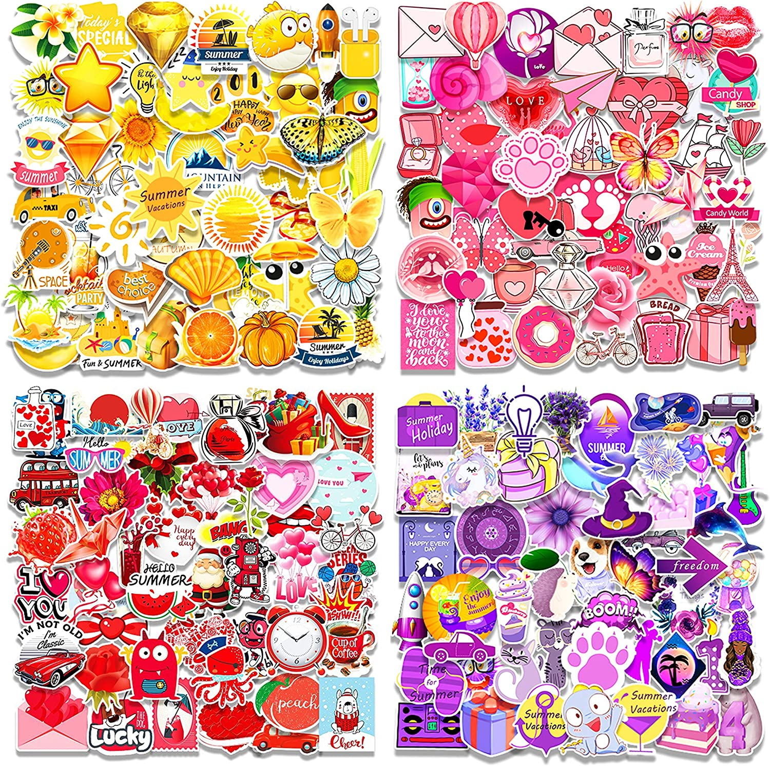 Rainbow Style Children Yellow+Blue+Green+red 200-Pcs Color Series Sticker and Adults 4 Colors 50-350Pcs//Pack Vsco Stickers for Water Bottle Waterproof Cute Stickers for Teenagers
